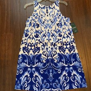 Blue and white paisley dress